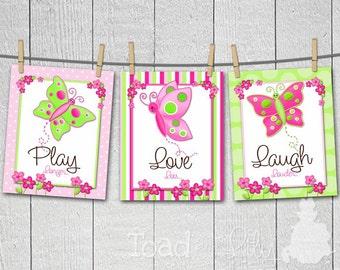 Set of 3 Pretty Butterfly Girls Bedroom Nursery 8 x 10 ART PRINTS