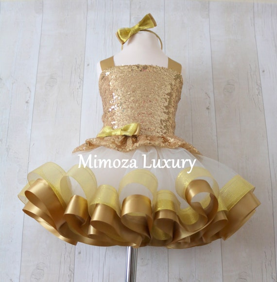 Luxury Gold Birthday Outfit, gold girls birthday dress, gold baby girl tutu princess dress, 1st birthday gold tutu dress outfit, infant girl