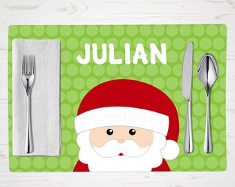 Santa Placemat - Personalized Children's Placemat - Custom Made with Child's Name - Christmas Placemat - Christmas Tableware