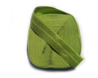 """5 Yard Roll of Leaf Green Foldover Elastic FOE 16mm 5/8"""" wide"""