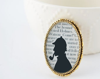 Sherlock Holmes Brooch - Sherlock Jewelry - Sherlock Pin - Gold Book Brooch - Literature Jewelry