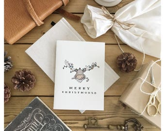 CHRISTMOOSE // Christmas card, funny christmas card, Christmas pun, moose, punny, pun card, Canadian Christmas card, funny christmas gift