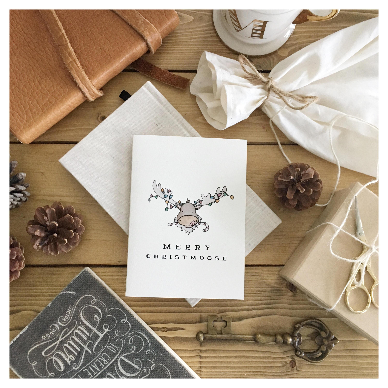 CHRISTMOOSE // Christmas card funny christmas card Christmas