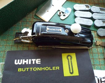 Vintage White Rotary Buttonholer Attachment, Made by Greist, in box with instruction booklet