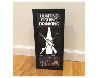 """Beer Bottle Cap Holder - Hunting, Fishing, Drinking - Shadow Box (6"""" x 14"""") - Vinyl Decal Gifts, Home Bar Accessories"""
