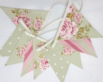 Fabric Bunting, Sage Green and Pink, cottage chic bunting, Fabric Garland, Floral Bunting, Wedding Bunting, Baby Shower, Party Bunting