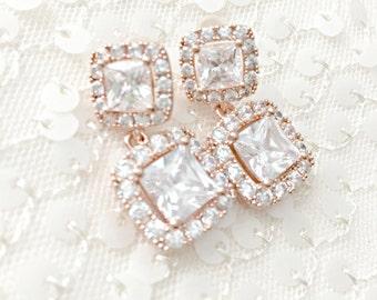 Square Rhinestone Bridal Earrings, Cushion Cut Earrings, Rhinestone Wedding Earrings, Short Wedding Earrings, CZ Modern Statement Earrings