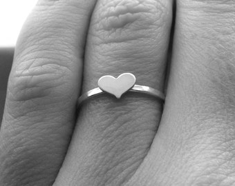 Sterling Silver Tiny Heart Ring, Sterling Silver Heart Ring, Small Heart Ring, Heart Jewelry, Stacking RIngs, Heart Stacking Ring,