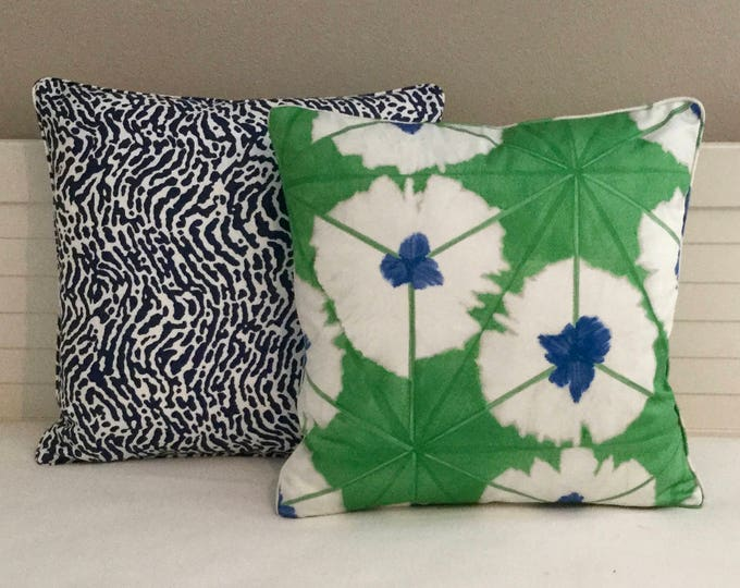 Thibaut Sunburst in Emerald on Both Sides Designer Pillow Cover with or without Piping- Square, Lumbar and Euro Pillow Cover Sizes