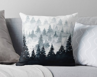 Watercolor Pillow | Black Pillow | Watercolor Throw Pillow | Mountain Decor | Watercolor Decor | Watercolor Pillow Cover | Mountain Pillow