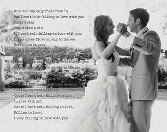 First Dance photo with words, Elvis Presley, Only fools rush in, personalized Wedding gift, bride and groom wedding vows canvas photo