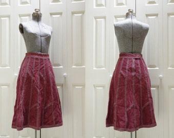 1970s Cranberry Suede Patchwork High Waist Skirt Designed for West by Jason Silverstein Size 9