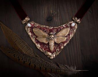 Necklace art nouveau Acherontia Atropos-scull jewelry-scull butterfly-art nouveau-moth jewelry-modern moth-Death Head Moth-modern necklace