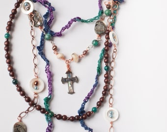 Copper Wood and Fiber Bib with Vintage Abalone Inlay Cross Amethyst Pearls White Opal Purple Brown Blue Art Necklace - Finding My Religion