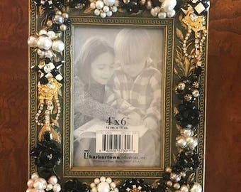 Black, gold, creme embellished bling jewelry glitz frame.