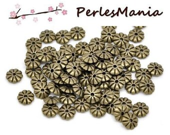 20 loops flowers BRONZE (S1113677) 7mm RONDELLES spacer beads