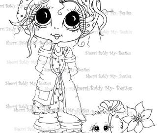 DESCARGA instantánea Digital Digi sellos ojo grande Big Head Dolls Digi mi pastel de BestiesSweetie y su perro por Sherri Baldy