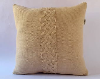 Knit Pillow Cover 16x16 40x40cm. Hand Knitted Cushion Cover. Sweater Pillow. Home Decor.