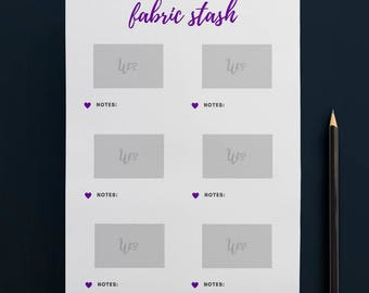 Printable Fabric Stash Organiser in PURPLE (6 to Page) // Fabric Planner //Printable Planner // A4 Size  //Paper // Instant Download