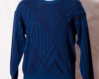 Vintage 80s 90s Men's Blue Sweater diamond pattern - EXPRESSIONS - M