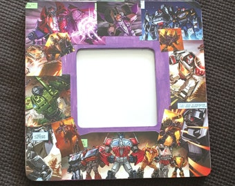 """Transformers inspired Comic Themed Square Decoupage Picture Frame (3.7""""X3.7"""")"""