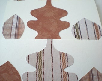 Trio of Leaves 3-Card Set Handmade Autumn Fall Woodland Forest Natural Earth Tones