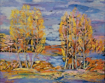 Abstract Landscape Oil Painting Autumn Painting Birch Grove Autumn Tree Wall Decor  Palette Knife Fall Art Family GiftsAutumn Art for Sale