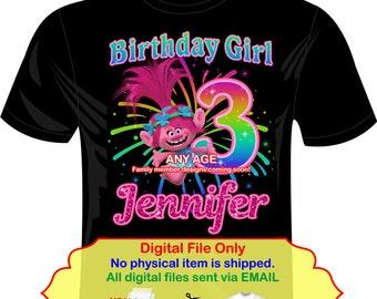 Trolls Iron On Transfer, Trolls Birthday, DIY Trolls Iron On, Trolls Party, DIY Trolls Birthday Shirt Transfer, Trolls Poppy - TROLLS6B