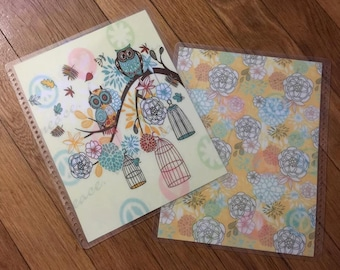 Front and Back Cover Set OWLS/Flowers for use with the Erin Condren OR Happy Planner