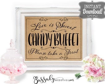 Candy Buffet Poster - INSTANT DOWNLOAD - Printable Wedding Love is Sweet Brown Kraft Paper Sign, Candy Station, Dessert Bar, Reception Decor