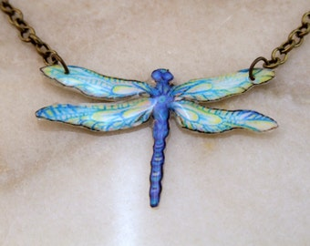 Blue Dragonfly Resin Art Necklace