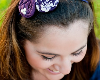Ivory & Plum Damask and solid rolled rosette headband