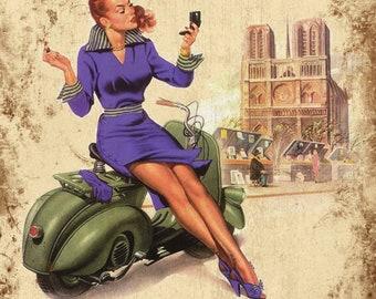 Retro Vintage Vespa Advertising Sign