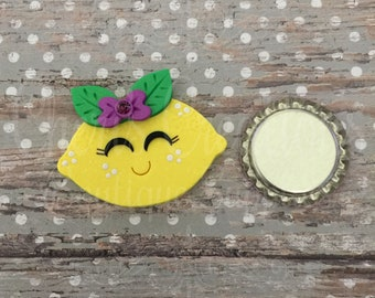 Polymer Clay - Handmade - Cute Lemon - Lemon Head - Sweet and Sour Lemon - Happy Lemon - Handmade Polymer Clay