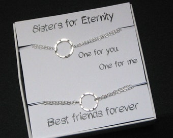 Sisters for Eternity Bracelet, 925 Sterling Silver, Two Sisters Bracelets, Karma Bracelet, Eternity Circle Bracelet, Message Card Jewelry