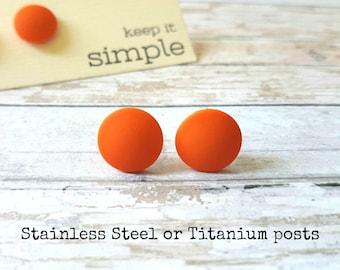 Orange stud earrings, Orange earrings, Simple earrings orange, Orange jewelry minimal, Matte studs orange, Everyday earrings minimalist