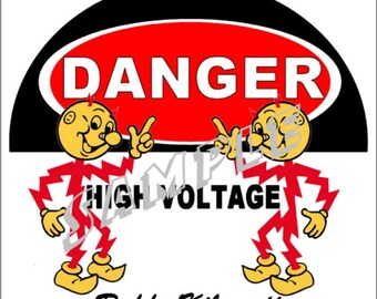 "Reddy Kilowatt High Voltage Aluminum Wall Sign 8x8"" Advertising Signs Vintage Advertising Drop Ship Services"