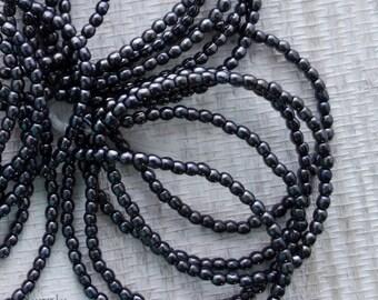 3mm Gunmetal Hematite Druk Beads - 2702 - 3mm Gunmetal Round Beads, 3mm Hematite Round Beads - Smooth Round Druk