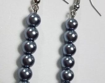 Metallic Gray Beaded Earrings