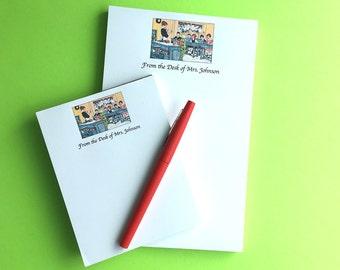 Personalized Teacher Notepads, Vintage Classroom, Teacher Gift, Handmade