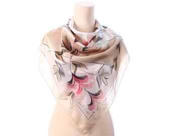 Floral Silk Scarf 70s Designer Abstract Printed Sheer Silk Shawl 1970s Beige Gray Pink Sepia Khaki Boho Vintage Luxury Scarf  Womens Gift