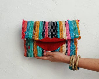 Boho Fabric Clutch Bag with Lips. Multicolor Hippie Kilim Purse. Kourelou Bohemian Clutch. Unique Gift for Women. Upcycled Eco Friendly Bag