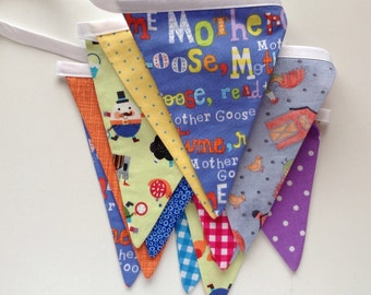 Party Banner SALE /Mother Goose Nursery Rhymes Fabric Bunting /Party Banner/ Photo Prop