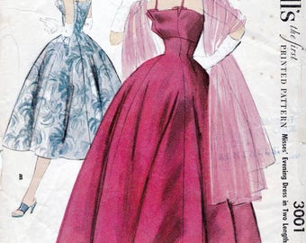 50s McCall's dress sewing pattern 3001, Bust 32 inches, pattern to make evening gown, vintage dress pattern