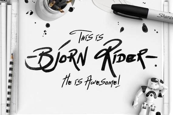 Digital Font - Bjorn Rider - Hand Drawn Display Font with alternates
