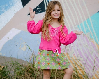 Geometric Hand Embroidered Cotton Dress for Girl