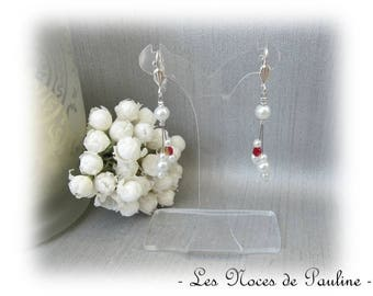 Earrings red and white asymmetrical Eva 'Tradition'