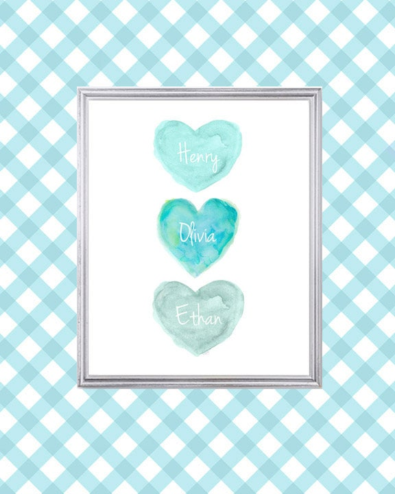 Brother Sister Nursery Print In Aqua 8x10 Personalized