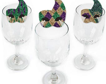 Mardi Gras - Masquerade Party Wine Markers - Mardi Gras Holiday Party Shaped Wine Glass Charms - Drink Markers - Wine Tags - Set of 24