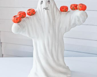 Amazing Rare Large Vintage Halloween Ghost With Jack O Lantern Pumpkin Candle Holders-Candelabra-Candle Abra-Made in Taiwan